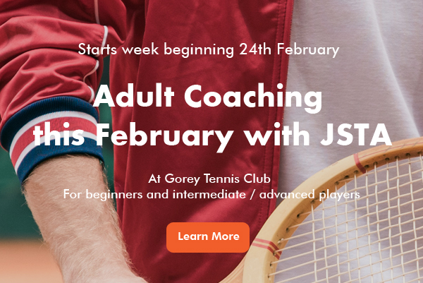 Adult Tennis Coaching at Gorey banner image