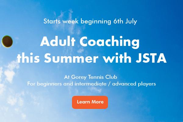 Adult Tennis Coaching at Gorey banner image